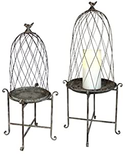 Set of 2 Weathered Birdcage Dome Elevated Iron Garden Lanterns on Stands