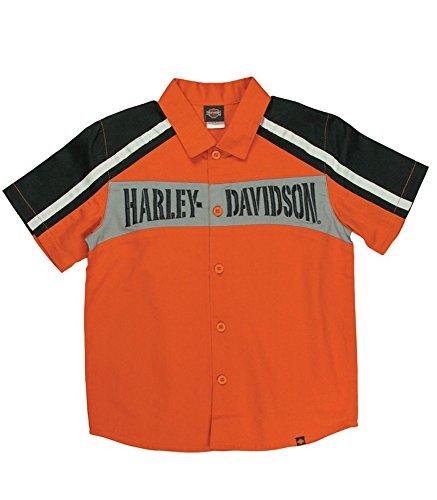 Shirt Davidson Embroidered Harley (Harley-Davidson Little Boys' Embroidered Colorblocked Shop Shirt, 1080545 (4))
