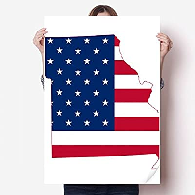 DIYthinker Missouri USA Map Stars And Stripes Flag Shape Vinyl Wall Sticker Poster Mural Wallpaper Room Decal 80X55cm