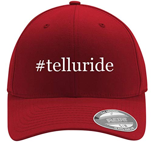 #Telluride - Adult Men's Hashtag Flexfit Baseball Hat Cap, Red, Small/Medium