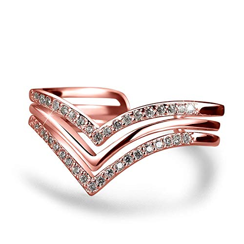 Madeone ✦18K White Gold Plating Excellent Cut Cubic Zirconia CZ Stone Wave Chevron Adjustable Wedding Ring for Women with Box Packing (Rose Gold)