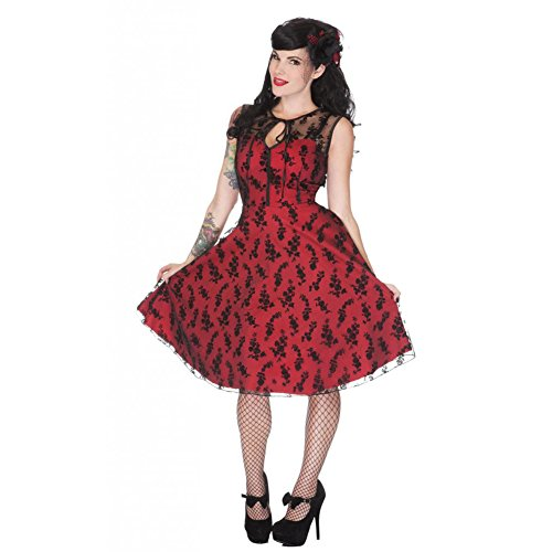 Womens-Voodoo-Vixen-Floral-Flocked-Lace-Overlay-Flaired-Dress-Red