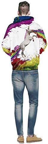 Yishelle 3D Druck Hoodie Kapuzenpullover Paar Pullover 3D Digitaldruck Ölgemälde Stil Herbst Und Winter Kleidung Für Männer Und Frauen Langarm Sweatshirt Kapuzenjacke (Größe : M)