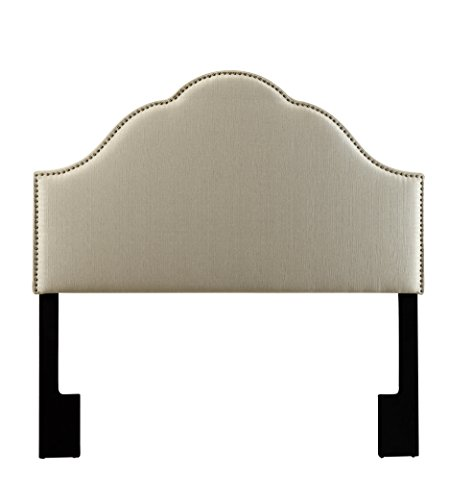 Border Queen Headboard - Pulaski DS-2530-250-420 Glam Upholstered Headboard, Queen, Tuxedo Oatmeal White