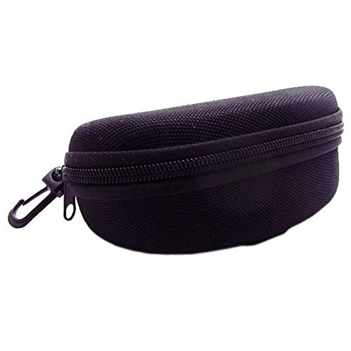 Black Nylon Water Resistant Sunglass Hard Case with Zipper and Belt Clip.  - Glasses Thump Sun