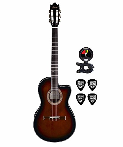 Ibanez GA35TCE Thinline Classical Acoustic Electric Guitar KIT in Dark Violin Sunburst with Clip On Guitar Tuner and Guitars Cable (Acoustic Electric Guitar Bundle) in Dark Violin Sunburst