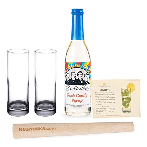 (Mojito Cocktail Starter Kit - 5 Pieces - Includes 2 Glasses, Muddler, Simple Syrup & Recipe Card)