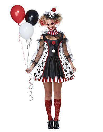 Old Lady Makeup Costume (California Costumes Twisted Clown Adult Costume-X-Small)