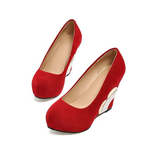 AllhqFashion Womens Solid Frosted High Heels Pull On Round Closed Toe Pumps Shoes Red ZfCrI0
