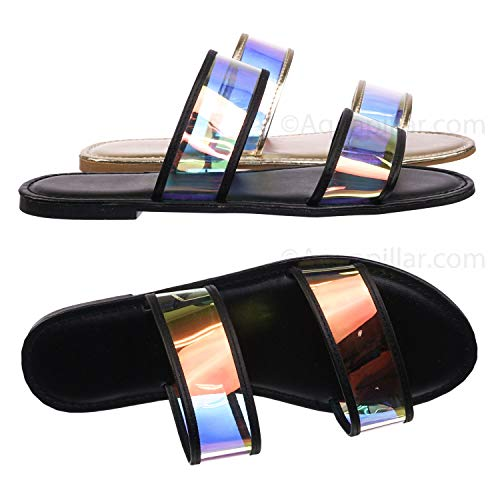 Lucite Clear Flat Slide Sandal - Women Hologram Iridescent Slide Ons