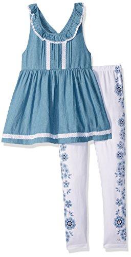 Denim Blue Set Pant White (Calvin Klein Big Girls' 2 Pieces Denim Tunic Pant Set, Blue/White, 8/10)