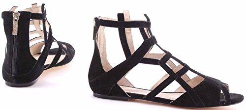 Zapatos Sandalia Mujeres LIU JO Sandals Flat Minerve Black Suede Golden Back Zip