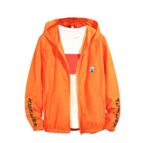 JJLIKER Mens Women's Packable Sunblock Jacket Sun Protective Summer Breathable Sunscreen Clothing Sportswear Tops Orange