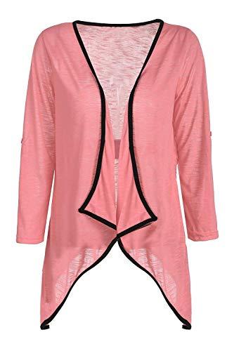 Monocromo Irregolare Outerwear Leggero Estivi Moda Giaccone Moda marca Manica Alla Size Vintage Pink Cardigan di Color Mode Donna Lunga M Cappotto Festiva Eleganti UZfOqaq