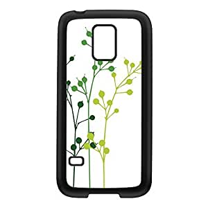 Flowerbuds White Black Silicon Rubber Case for Galaxy S5 Mini by Gadget Glamour + FREE Crystal Clear Screen Protector