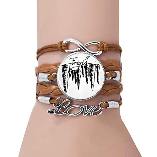 DIYthinker Icicle Hand Painted Illustration Pattern Bracelet Love Twisted Leather Rope Wristband Jewelry
