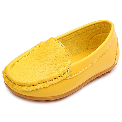 (LONSOEN Toddler/Little Kid Boys Girls Soft Synthetic Leather Loafer Slip-On Boat-Dress Shoes/Sneakers,Yellow,SHF103)