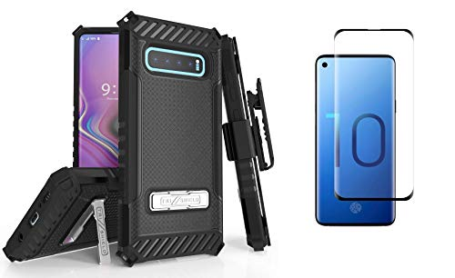 Beyond Cell Military Grade Shockproof Holster Case (Black) Compatible with Samsung Galaxy S10 with Tempered Glass Screen Protector and Atom Cloth from Bemz Depot