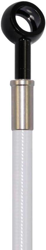 Pro Braking PBK7739-WHT-BLA Front//Rear Braided Brake Line White Hose /& Stainless Black Banjos