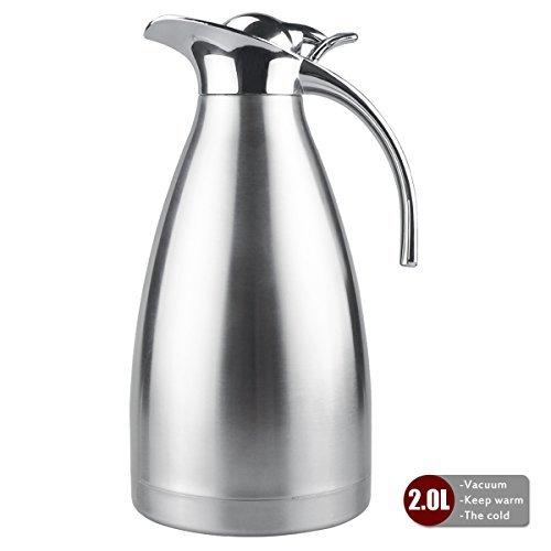 Thermal Carafe Stainless Steel Double Wall Vacuum Insulated 68 Oz Large Capacity Tea/Water Pitcher with Press Button Silver-JUNING (Double Wall Carafe)