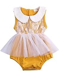 c199ff70ab2 Newborn Baby Girl Romper Ruffled Lace Peplum Jumpsuit Bodysuit Clothes