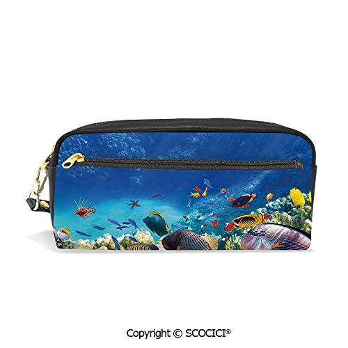 Students PU Pencil Case Pouch Women Purse Wallet Bag Fairy Underwater with Fish and Source of Oxygen Coral Aquatic Liquid Culture Scenery Waterproof Large Capacity Hand Mini Cosmetic Makeup Bag