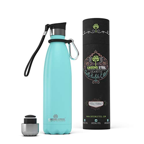 (Stainless Steel Water Bottle – 17 oz Vacuum Insulated Double Wall with Push Lid/Leak Proof Thermal Travel Sports Flask Coffee Canteen/Cola Shape Bonus Value Bundle - 17 oz Blue)