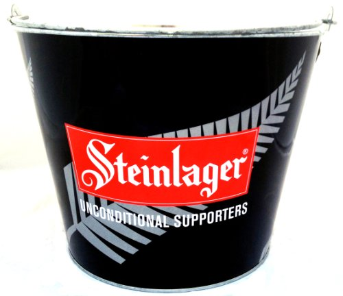 Steinlager All Blacks Painted Aluminum Beer Metal Bucket (Holds about 6 with Ice)
