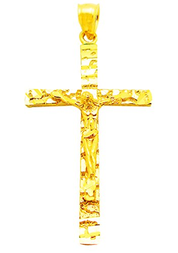 AMZ Jewelry 10k Yellow Gold Mens Nugget Cross - Nugget Pendant Charm Jewelry