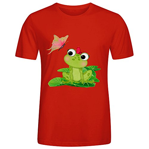 Cute Girl Frog Printed Mens T Shirts Red Big Tall