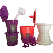 COFFEE FILTERS Combo Set!! 2x SINGLE Reusable K-Cups, 1x CARAFE 2.0 Reusable Filter, 1x Coffee Scoop, 10x Filter Paper and 2x Bonus Freedom Clever Clip Fits All 2.0 Models K200-K250-K300-K400-K500