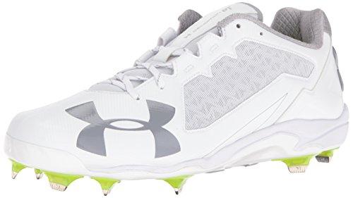(Under Armour Men's Deception Low DiamondTips Baseball Shoe, 100/White, 10)