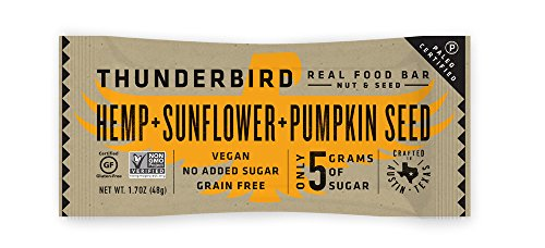 Thunderbird Paleo and Vegan Real Food Energy Bars - Hemp Sunflower Pumpkin Seed - Box of 15 - No Added Sugar, Grain Free, Vegan, Non-GMO Bars (Protein Sunflower Seeds)