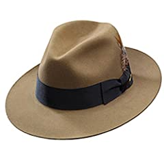 "The Stetson Temple is a Royal DeLuxe quality fur felt hat with a classic shape. This hat features a dimensional brim with 2 3/8"" on the sides and 2 5/8"" in front and back, a 4 1/2"" centerdent crown, genuine roan sweatband, interior lining, an..."
