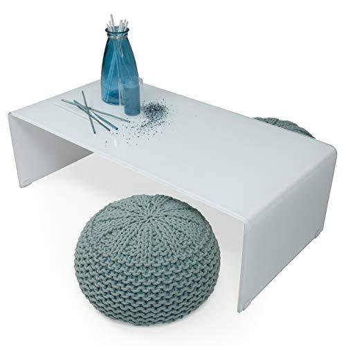 Homely - Mesa de Centro de Cristal Curvado y Templado de una Pieza de 120x60 cm (Cristal Blanco)