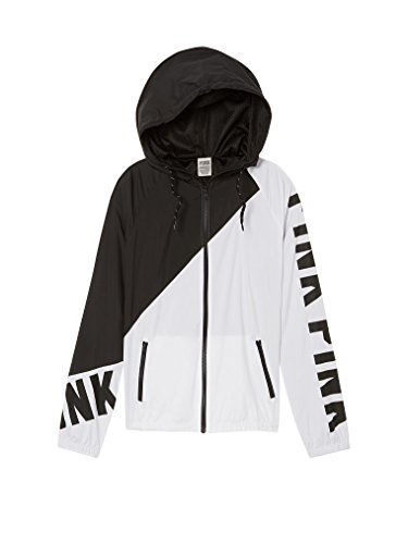 VS Pink Victoria's Secret Pink Anorak Windbreaker Jacket Full-Zip Black/White XSmall/Small by VS Pink