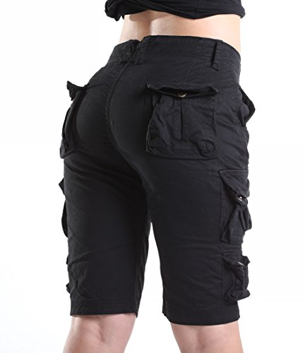 - Cargo Shorts for Women Multi-Pockets Casual Loose Fit Bermuda Short with Belt Black US 14