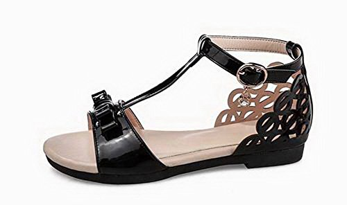 Solid Women VogueZone009 Heels Black Open Sandals Toe Pu Buckle Low d5n51W