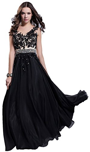 Meier Women's Embroidery Lace Beaded Prom Evening Chiffon Pageant Formal Dress Black-XS