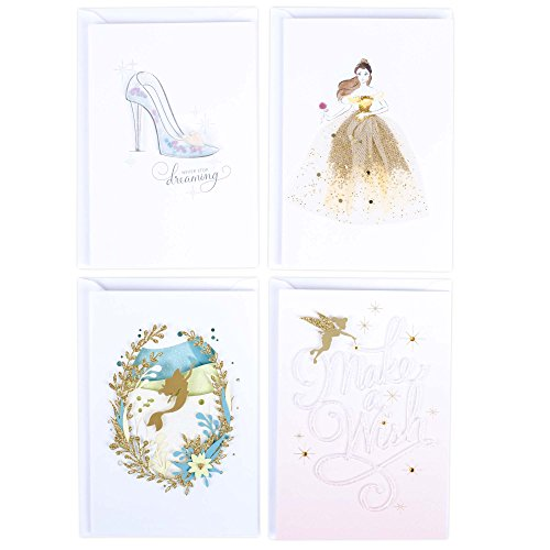 Hallmark Signature Birthday Greeting Card Assortment (Disney Princess, 4 Cards with (Make Beauty And The Beast Costumes)
