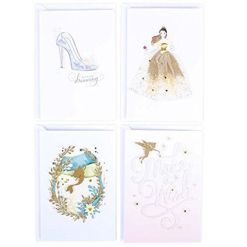 Hallmark Signature Birthday Card Assortment (Disney Princess, 4 Cards with Envelopes)
