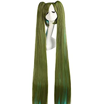 MapofBeauty 2 Ponytails Straight Long Party Costume 120cm Cosplay Wig (Army Green / Cyan)