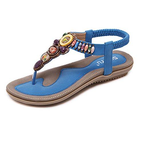 Donne Estate Sandali Sandali Peep Infradito Flop Boemia Eleganti Toe Blu Spiaggia Scarpe Bassi Flip ZrSZqp1w