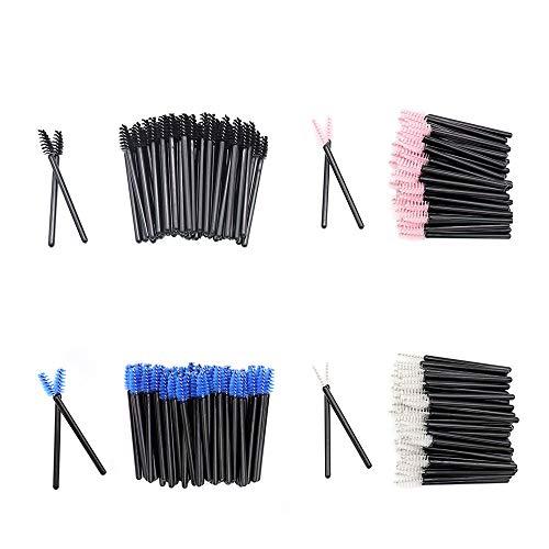 200 Pack Mascara Wands Mini Disposable Eyelash Brushes for Extensions Eye Lash Wand Brow Brush Makeup Tool Bulk, 4 Colors