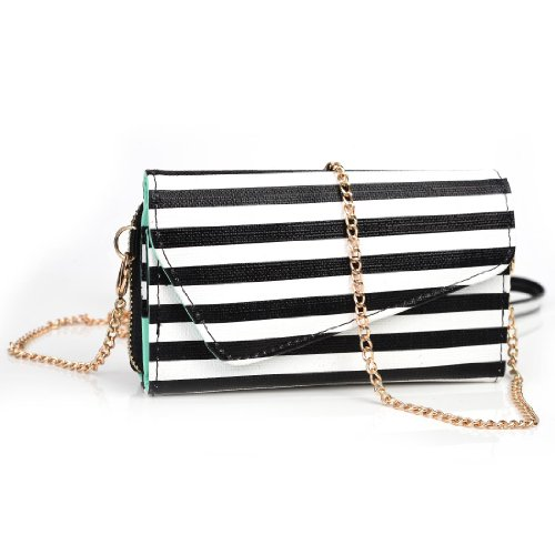 Gionee Elife S5.5 Womens Wristlet Clutch Case {Black and White Stripes With Matte Aqua Teal} with Credit Card Holder and Crossbody Shoulder Strap