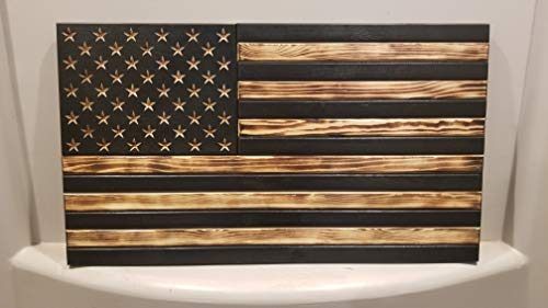 - San Tan Woodworks Standard Size Burnt Wood Gun Concealment American Flag with Carved Stars. Hand-Made, 100% American Gun Concealment Furniture for The Home (Burnt)