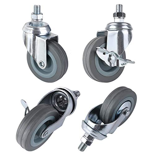 "MVPOWER 3"" Swivel Caster Wheels, 4 Pack Threaded Stem Mount Dust Cover Rubber Heavy Duty Casters Replacement for Carts, Furniture, Dolly,Trolley, Workbench,Each Bearing 110Lbs"