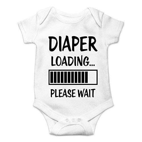 CBTWear Diaper Loading… Please Wait Newborn Dirty Diaper Humorous Babies Funny Cute Novelty Infant One-Piece Baby Bodysuit (Newborn, White)