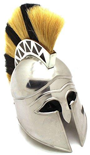 Medieval Warrior Brand 18G Steel Greek Corinthian Armor Helmet w/ Plume, Leather Liner and Helmet Stand
