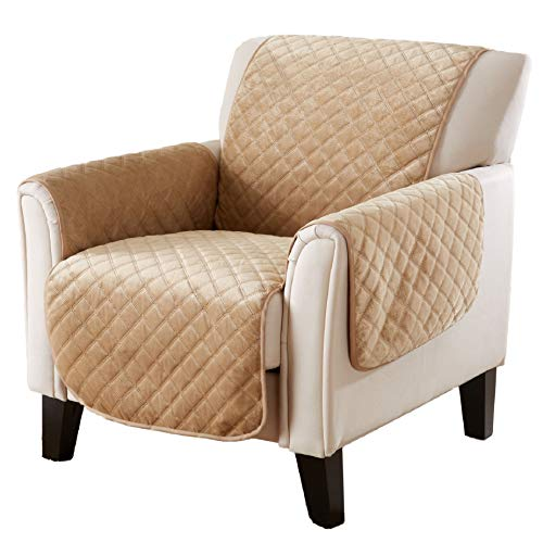Great Bay Home Velvet Furniture Protector. Stain Resistant & Machine Washable. Brooklyn Collection (Chair, Warm Sand) ()